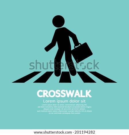 Crosswalk Graphic Sign Vector Illustration - stock vector