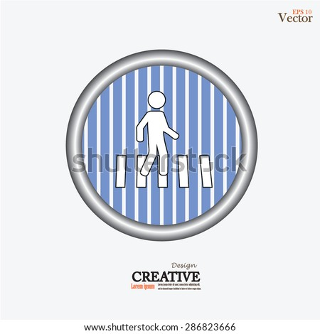 Crosswalk Graphic Sign Vector Illustration.man walks on crosswalk icon.man icon.vector illustration. - stock vector