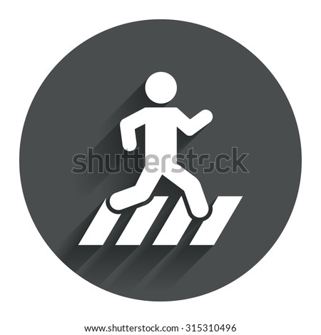 Crosswalk icon. Crossing street sign. Circle flat button with shadow. Modern UI website navigation. Vector - stock vector