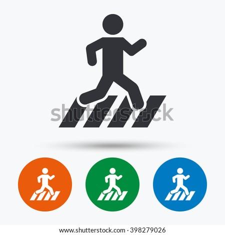 Crosswalk icon. Crosswalk flat symbol. Crosswalk art illustration. Crosswalk flat sign. Crosswalk graphic icon. Flat icons in circles. Round buttons for web. - stock vector