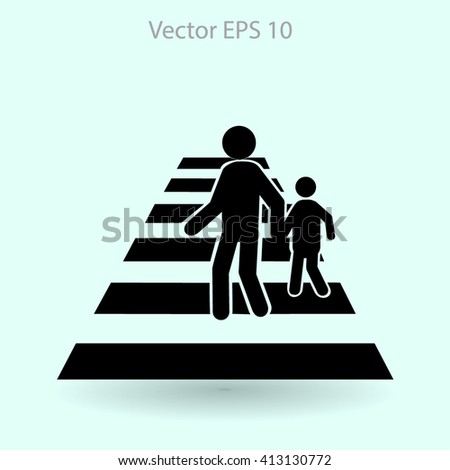 crosswalk vector icon - stock vector