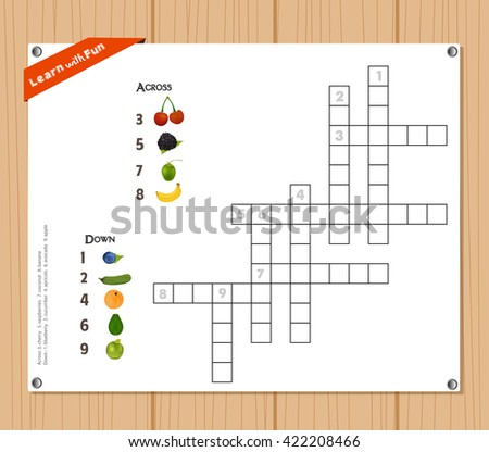 Crossword, education game for children about fruits