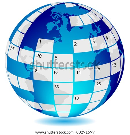 Crossword in form world globe.Vector - stock vector