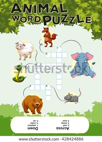 Crossword puzzle with many animals illustration - stock vector