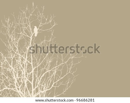 crow on branch on brown background, vector illustration - stock vector