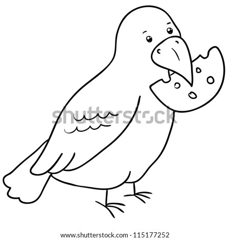 crow with cheese in its beak, contour - stock vector