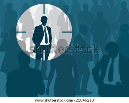 Crowd and one man selected, conceptual business illustration. - stock vector