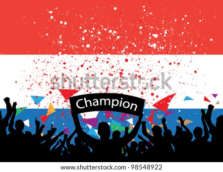 crowd cheer Netherlands - stock vector