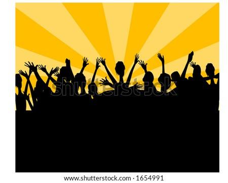 crowd cheering - stock vector