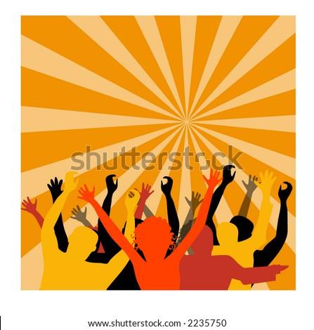 crowd cheering illustration - stock vector