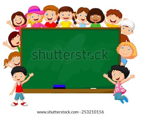 Crowd children with chalkboard - stock vector