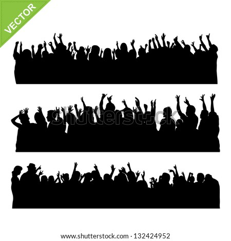 Crowd concert silhouettes vector - stock vector