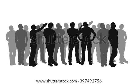 crowd cross line2 - stock vector