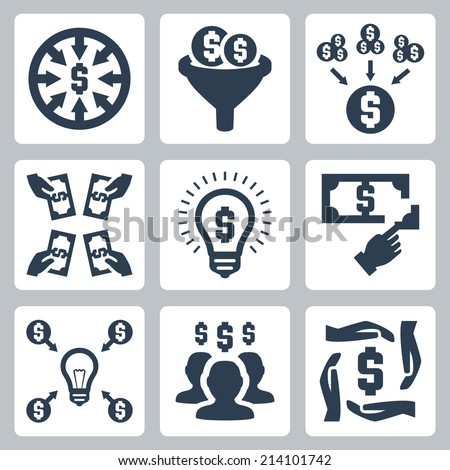 Crowd funding and investing vector icons set - stock vector