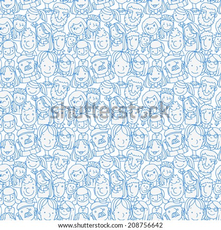 crowd funny character doodle people - stock vector
