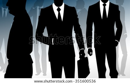 Crowd of businessmen walking to work and calling on phone