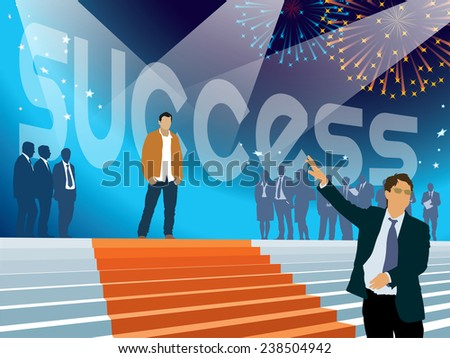 Crowd of businesspeople celebrating success in business. - stock vector