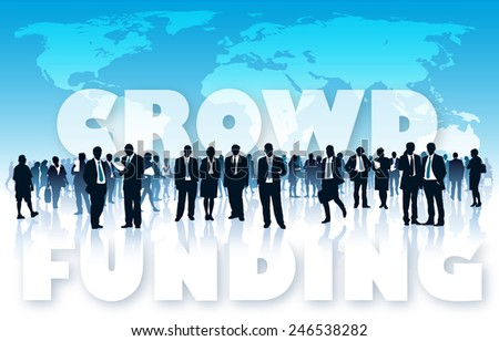 Crowd of businesspeople in front of large world map and large words - CROWD FUNDING. - stock vector