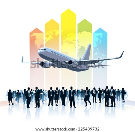 Crowd of businesspeople standing, flying airplane and a large colorful chart with world map in the background - stock vector