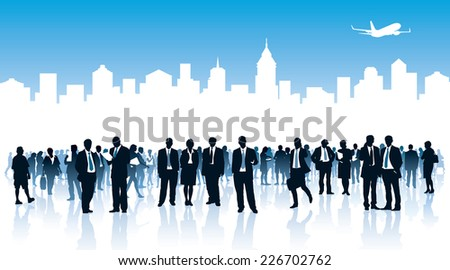 Crowd of businesspeople standing over white city - stock vector