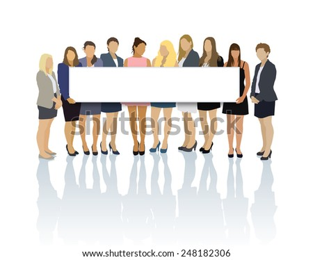 Crowd of businesswomen standing and holding the long billboard. - stock vector
