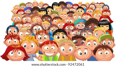 Crowd of children - stock vector