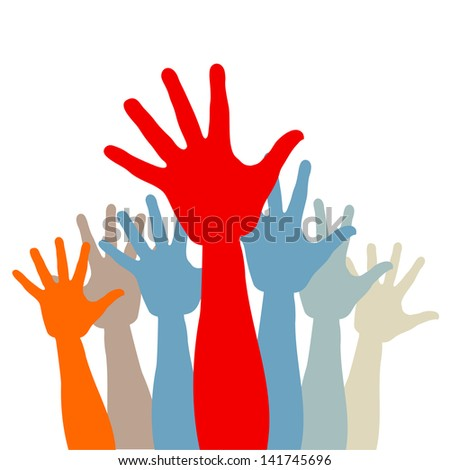 Crowd of colored hands