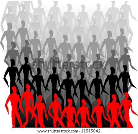 Crowd of men - stock vector