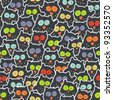 Crowd of owls. Cute and crazy seamless pattern. - stock vector