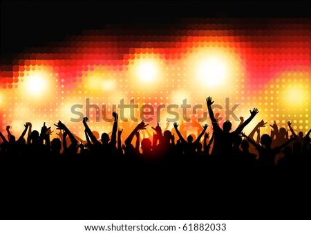 Crowd of Party People - vector background. - stock vector