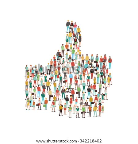 Crowd of people gathering in a thumbs up like shape symbol, social media and community concept - stock vector