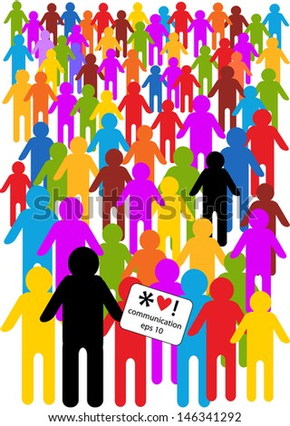 crowd of people in cartoon style, colorful vector communication concept - stock vector