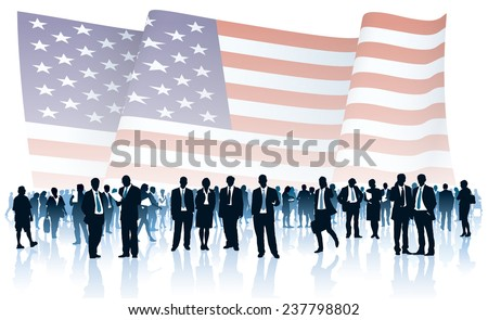 Crowd of people in front of large national US flag