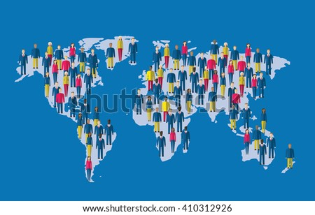 Crowd of people making a earth planet map - stock vector