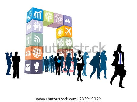 Crowd of people passing through the gate of icons and signs - stock vector