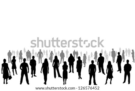crowd of people - vector silhouettes - stock vector