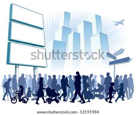 Crowd of people walking on a street. - stock vector
