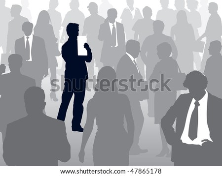 Crowd of people walking on a street and one man selected - stock vector