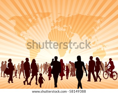 Crowd of people walking. People are going to the new better world. - stock vector
