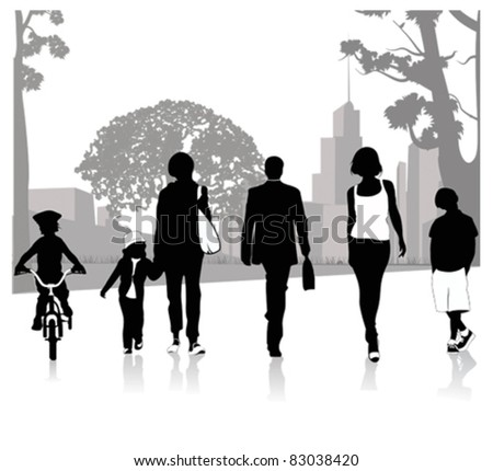 Crowd of people walking.Vector illustration - stock vector