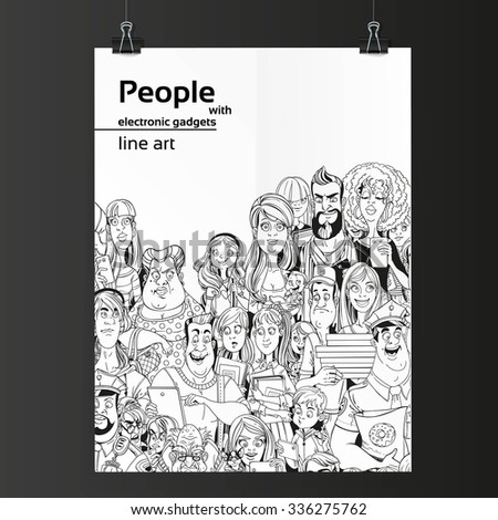 Crowd of people with electronic gadgets line art on white paper hanging on two binders