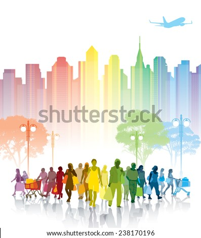 Crowd of shopping people, city with high buildings in the background. - stock vector