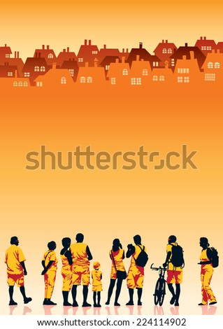 Crowd of tourists looking at skyline of small town - stock vector