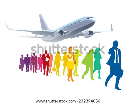 Crowd of walking people in front of large commercial airplane. - stock vector
