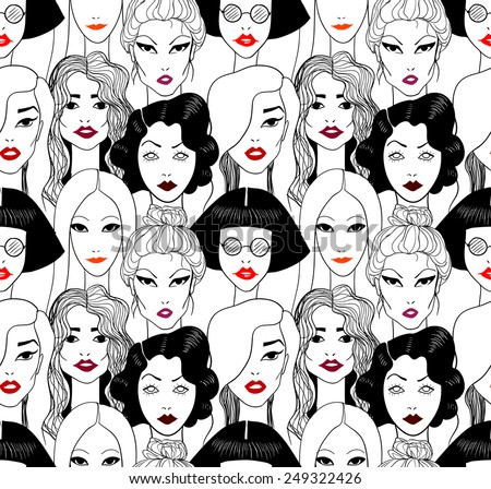 Crowd of women with red lips seamless pattern.