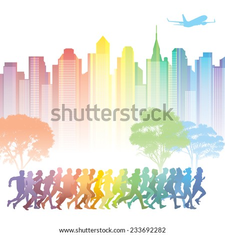 Crowd of young people running. Colorful buildings in the background. - stock vector