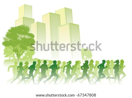 Crowd of young people running on a street. Sport vector illustration. - stock vector