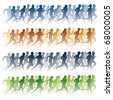 Crowd of young people running. Sport vector illustration. - stock photo