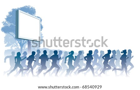 Crowd of young people running. Sport vector illustration. - stock vector