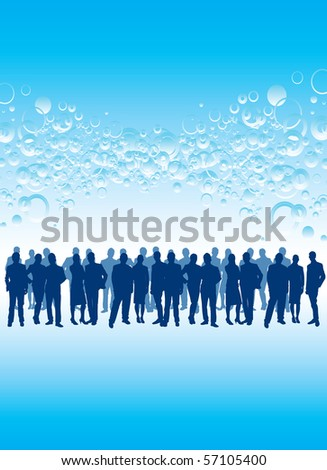 crowd on a bubble background